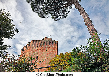 Tower of Oriolo dei Fichi in Faenza, Emilia Romagna, Italy -...