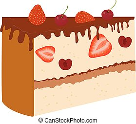 chocolate cake with cherry isolated on white background.