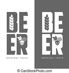 simple logo with the words Beer, illustration, isolated on a...