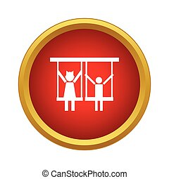 Children ride on swing icon, simple style - Children ride on...