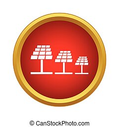 Solar panels icon, simple style - Solar panels icon in...