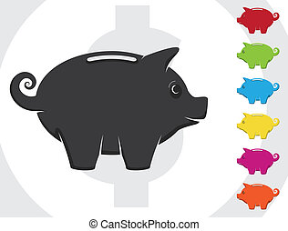Piggy Bank - A vector piggy bank with various colors....