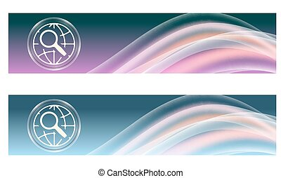 Set of two banners with colored rainbow and globe and magnifier