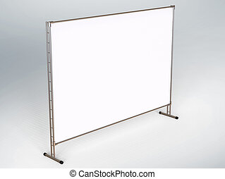 Mobile booth, brand or Press Wall with a blank banner mockup...