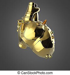 Shiny golden cyborg techno heart with shiny details and colored glass indicators