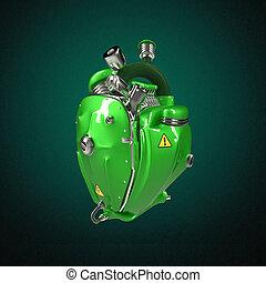 motor, corazón, tubos, punk, partes, Diesel, robot, aislado,...