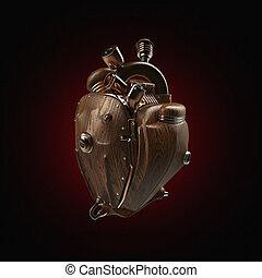 Steampunk, mecha, robot, Techno, corazón, motor, con, tubos,...