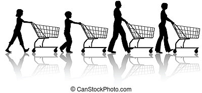 Family mom dad kids together push shopping carts - The...