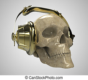 dorado, piedra, en, cráneo, luz, humano, Halloween, aislado,...