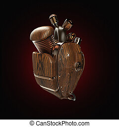 motor, corazón, tubos, de madera, steampunk, partes, robot,...