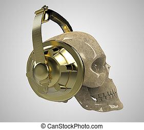 brillante, piedra, humano, cráneo, con, dorado, estudio,...