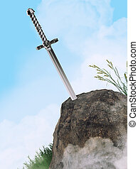 sword excalibur King Arthur stuck in the rock stone isolated...