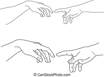 Adam and God hands, touch, hope, help, vector illustration -...