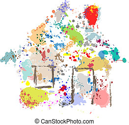 House Paint Drops Splatter Grunge Home Abstract - A house...