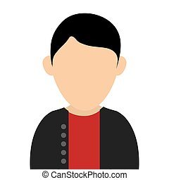 faceless man wearing casual clothes portrait icon - simple...