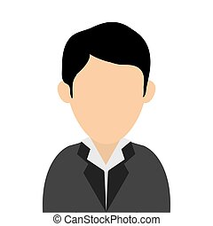 faceless man wearing suit portrait icon - simple flat design...