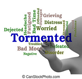 Tormented Word Represents Mortify Distress And Afflict 3d...