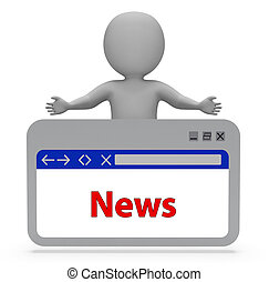 News Webpage Represents Social Media And Info 3d Rendering
