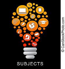 Subjects Lightbulb Shows Power Source And College - Subjects...