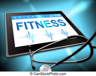 Fitness Tablet Shows Healthy Living And Exercise
