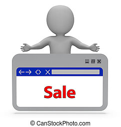 Sale Webpage Indicates Rebate Browsing And Merchandise 3d...