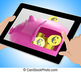 Euros In Piggy Shows Currency And Investment Tablet