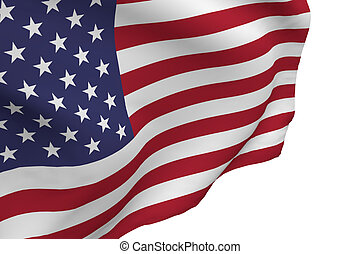 American Flag Blowing on White Background, 3d render.