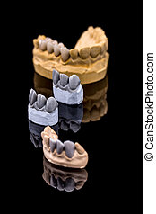 Artificial teeth, wax models on reflection black background