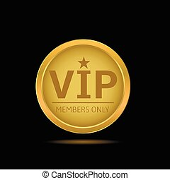 Golden VIP label - VIP golden label. Members only. Glamour...
