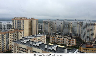 panorama of high-rise residential buildings in...