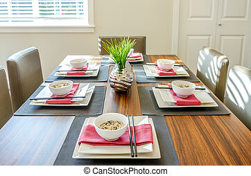 Contemporary dining room table.