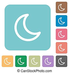 Flat moon icons on rounded square color backgrounds.