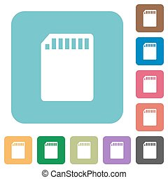 Flat SD memory card icons on rounded square color...