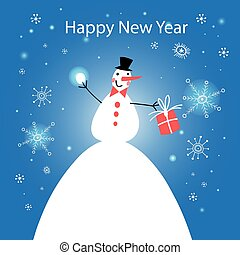 Wonderful snowman with gift