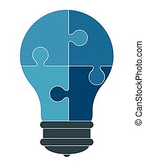 lightbulb in puzzle pieces icon