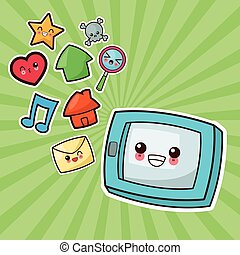 Kawaii cartoon Technology and Social media Vector graphic -...