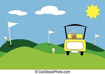 Yellow Golfing Scene