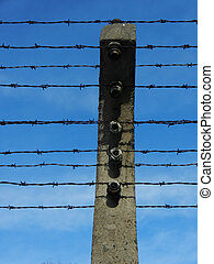 electrified barbed wire - Section of electrified barbed wire...