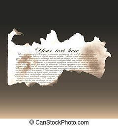 Charred paper. Papyrus, an old manuscript. Template, example