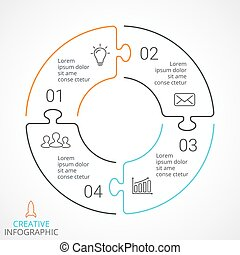 Vector circle arrows puzzle infographic, cycle diagram,...