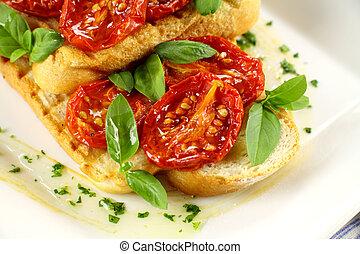 Roasted Tomato Bruschetta - Delicious roasted cherry...