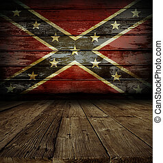 Confederate flag on wall - Wooden floor and Confederate flag...