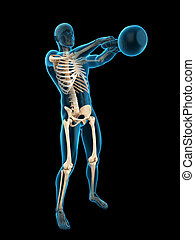 an athlete with kettle - medically accurate 3d illustration...