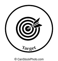 Icon of Target with dart. Thin circle design. Vector...
