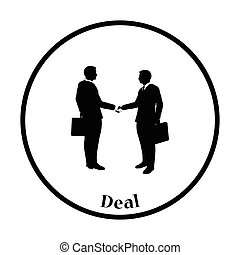 Icon of Meeting businessmen Thin circle design Vector...