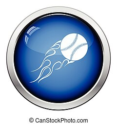 Baseball fire ball icon Glossy button design Vector...