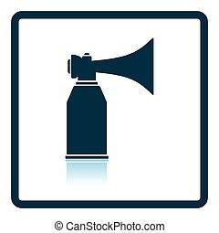 Football fans air horn aerosol icon Shadow reflection design...