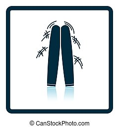 Football fans clapping sticks icon. Shadow reflection...