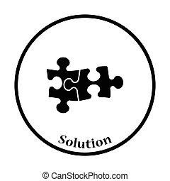 Icon of Puzzle decision Thin circle design Vector...
