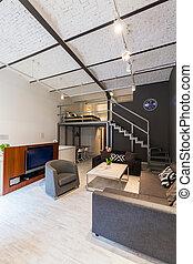modernos, sótão, com, mezzanine, idéia